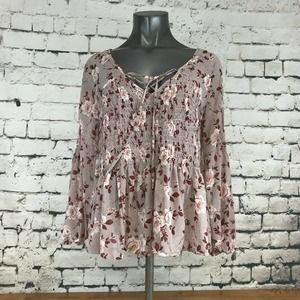 American Eagle AEO Women's Shirt Boho Floral Tie Front V-Neck Layered Pink M